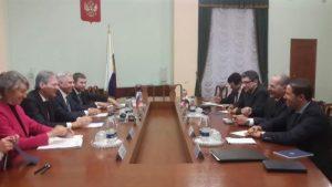 وزير الزراعة والوفد المرفق له مع نظيره الروسى