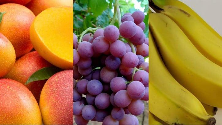الموز والعنب والمانجو